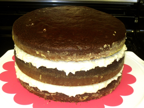 The 3 layers of the cake, compiled and waiting for more frosting!